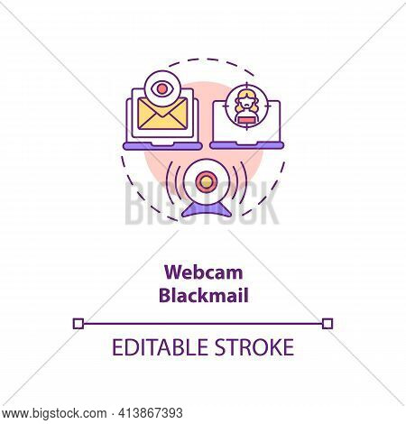 Blackmail On Dating Website Webcam Concept Icon. Avoid People Taking Screenshot From Erotic Talking