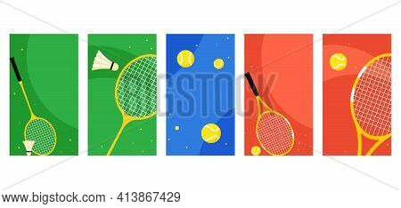 Shuttlecock And Rackets For Playing Badminton. Sports Equipment For Playing Badminton. Concept Of Sp