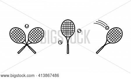 Tennis Icon Set. Balls And Tennis Racket. Sports Equipment For Playing Tennis On Court. Concept Of S