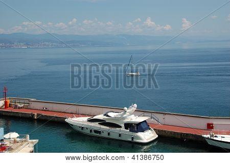 Yacht at Marina Admiral and Gulf of Kvarner