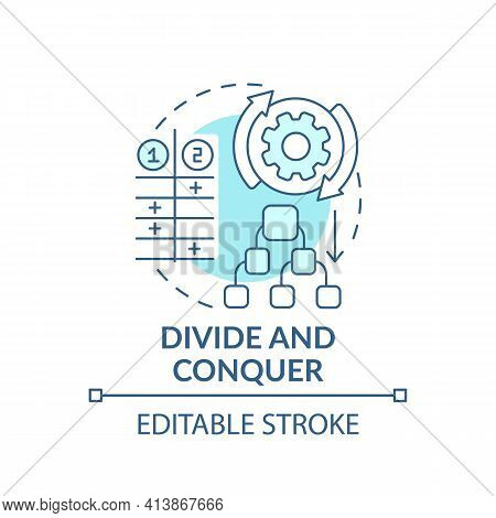 Divide And Conquer Blue Concept Icon. Task Management. Method For Decision Making. Problem Solving S