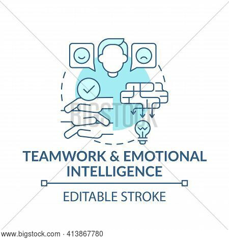 Teamwork And Emotional Intelligence Blue Concept Icon. Communication Strategy. Problem Solving Idea