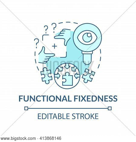 Functional Fixedness Blue Concept Icon. Cognitive Bias. Limit In Critical Thinking. Mental Block Pro