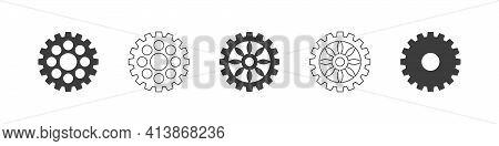 Gear Wheel Icon Set. Gear Wheel Icons Concept. Circle Gears. Vector Illustration