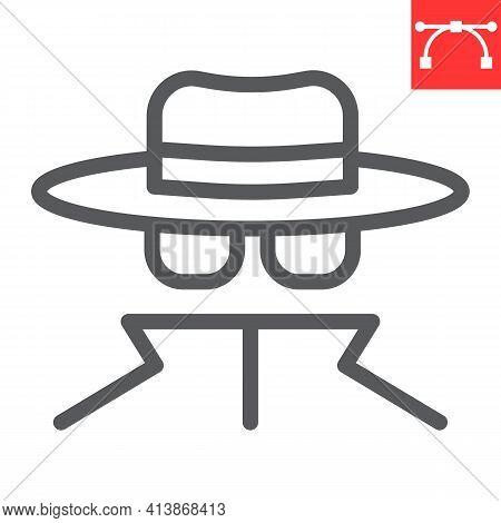 Spy Agent Line Icon, Anonymity And Detective, Incognito Vector Icon, Vector Graphics, Editable Strok