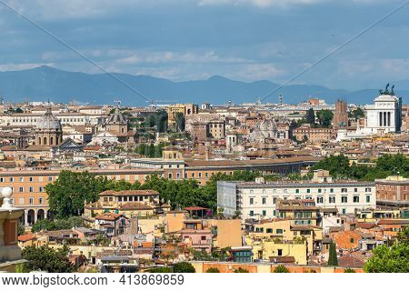 Cityscape of Rome at sunny day, Italy. Skyline of Rome, with its best architecture and landmarks.