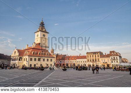 Brasov, Transylvania, Romania, October 2015: Council Square, The Main Square Of Brasov, Transylvania