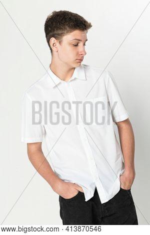 Basic white shirt for boy's apparel studio shoot