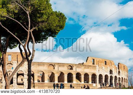 ROME, ITALY - January 17, 2019: Ancient Roman architectural remains, Rome, ITALY