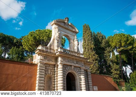 ROME, ITALY - January 17, 2019:Traditional Cathedral building in Rome, ITALY