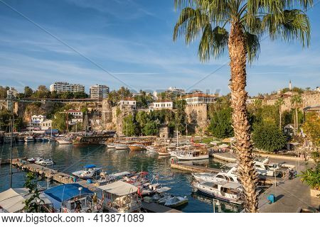 Old harbour in Antalya, Turkey. Port in the Kaleici old town of Antalya at sunset, Turkey