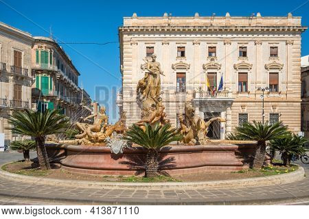 Diana fountain on the square Archimedes in Syracuse old town in Sicily, Southern Italy