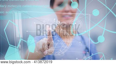 Caucasian female health worker touching screen with medical data processing. medical research and technology concept