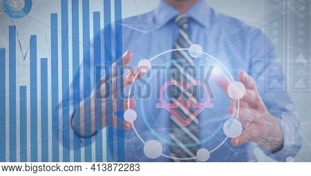 Medical and statistical data processing against mid section of businessman. medical research and technology concept