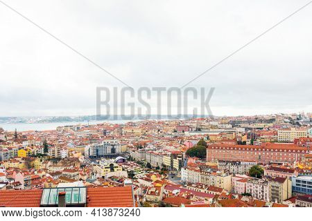 Lisbon, Portugal. - February 11, 2018: Street view of downtown in Lisbon, Portugal, Europe