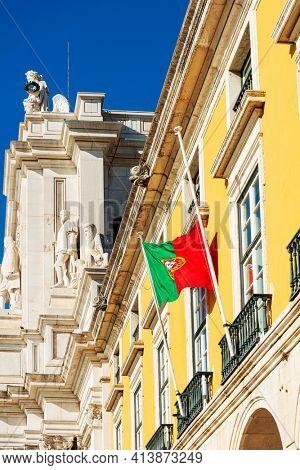 Lisbon, Portugal.- February 11, 2018: Flag of Portugal in Lisbon, Portugal, Europe