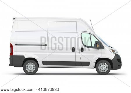 White commercial delivery van isolated on white, side view. 3d illustration