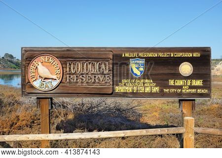NEWPORT BEACH, CALIFORNIA - JANUARY 16, 2017: Upper Newport Bay Ecological Reserve sign. The reserve provides approximately 1,000 acres of open space and natural habitat.