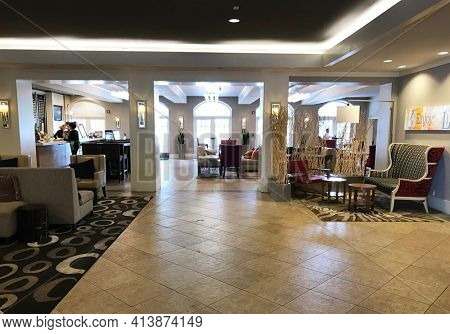NEWPORT BEACH, CALIFORNIA - JULY 12, 2019: Lobby Interior at the Hyatt Regency Newport Beach.