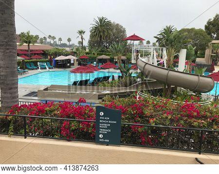 NEWPORT BEACH, CALIFORNIA - JULY 12, 2019: Pool area at the Hyatt Regency Newport Beach.