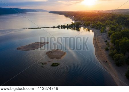 Aerial view of the sandy coast of the river of Volga, Russia