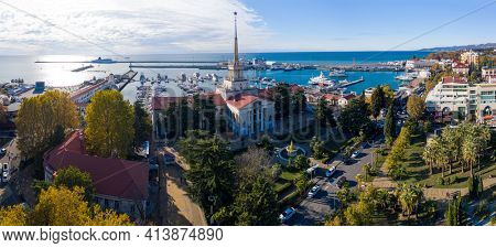 Aerial panorama of the city of Sochi, Russia