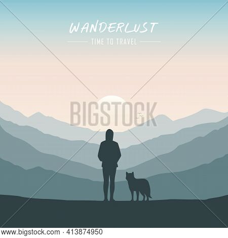 Wanderlust Girl And Dog Looking In To The Mountain Nature Landscape