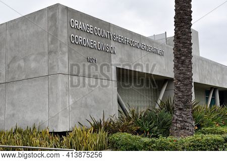 SANTA ANA, CALIFORNIA - AUGUST 27, 2018: Orange County Sheriffs Coroner Division, Santa Ana, California.