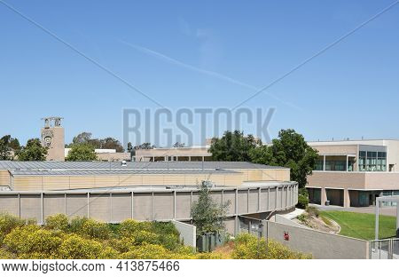 SANTA ANA, CA - APRIL 14, 2017: Hector Godinez Fundamental High School seen from Heritage Museum of Orange County, is a public high school and  part of the Santa Ana Unified School District.