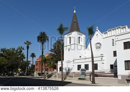 SANTA ANA, CA - APRIL 30, 2017: First Presbyterian Church. Located in the downtown area, and the Old County Courthouse.