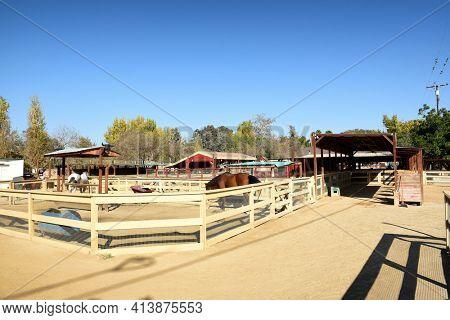 SAN JUAN CAPISTRANO, CALIFORNIA - 1 DEC 2017:  Horses at Zoomars Petting Zoo in the Los Rios Historic District of town.
