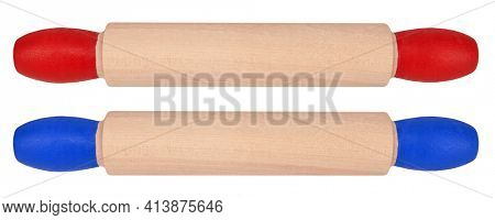 Two rolling pins with red and blue handles isolated on white background