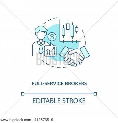 Full-service Brokers Concept Icon. Broker Type Idea Thin Line Illustration. Financial Broker-dealer