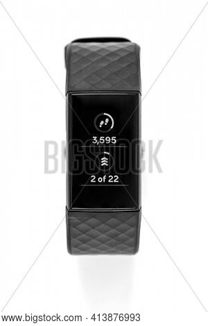 Belgrade, Serbia - March 2021. Smartwatch Fitbit Charge 4, Fitness activity tracker isolated on white, including clipping path
