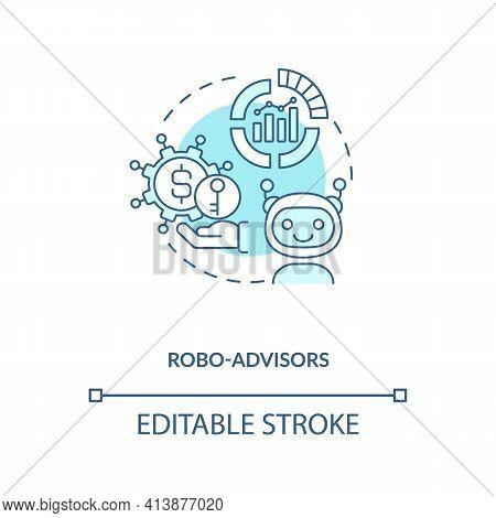 Robo-advisors Concept Icon. Broker Type Idea Thin Line Illustration. Digital Platforms. Robo-adviser