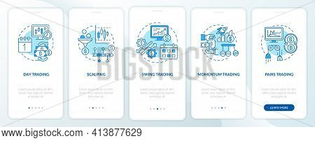 Stock Trade Approaches Onboarding Mobile App Page Screen With Concepts. Scalping, Swing Types Walkth