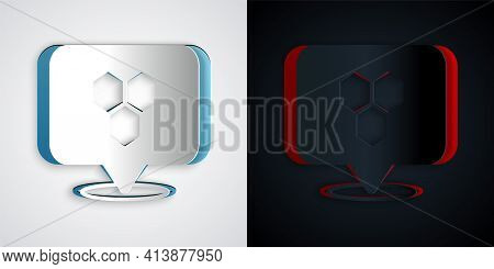 Paper Cut Honeycomb Bee Location Map Pin Pointer Icon Isolated On Grey And Black Background. Farm An