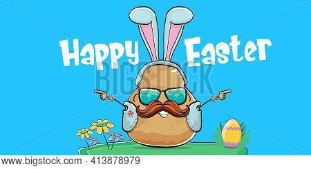 Vector Rock Star Easter Potato Funny Cartoon Character With Blue Easter Bunny Ears Isolated On Blue