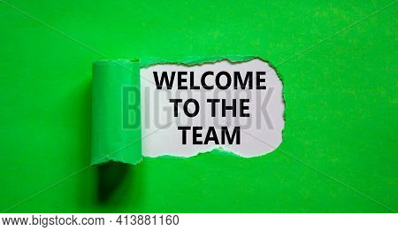 Welcome To The Team Symbol. Words 'welcome To The Team' Appearing Behind Torn Green Paper. Beautiful