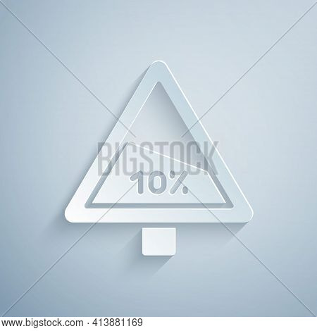 Paper Cut Steep Ascent And Steep Descent Warning Road Icon Isolated On Grey Background. Traffic Rule
