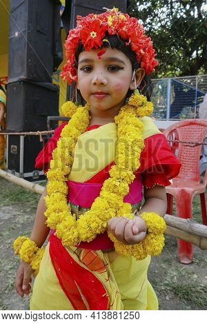 Kolkata, India - March 9th, 2020 : Beautiful Young Girl With Spring Festive Make Up And Dressed In S