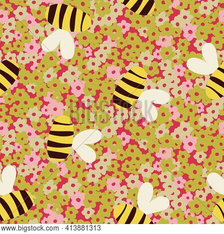 Bees Flying Over Flowers Seamless Vector Pattern