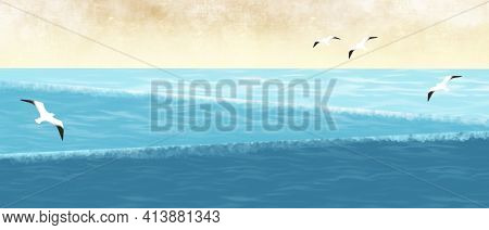 Abstract Poster With Waves And Seagulls, Colorful Wallpaper, Modern Card And Banner Design, Abstract