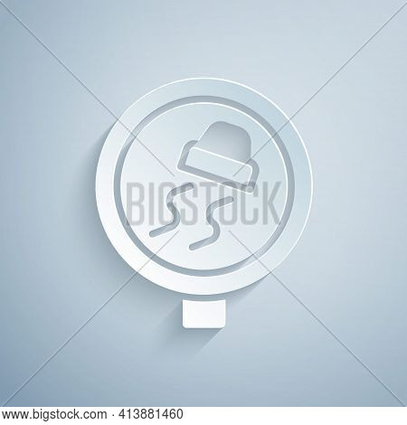 Paper Cut Slippery Road Traffic Warning Icon Isolated On Grey Background. Traffic Rules And Safe Dri