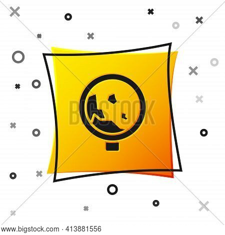 Black Road Sign Warning Avalanche Rockfall Landslides Icon Isolated On White Background. Traffic Rul