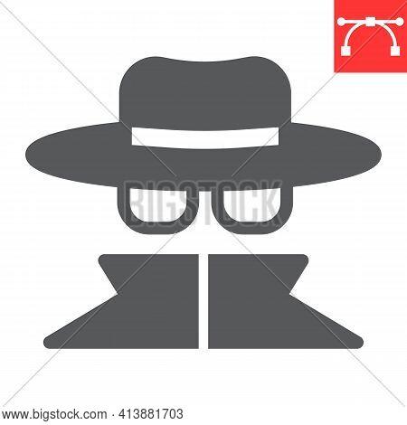 Spy Agent Glyph Icon, Anonymity And Detective, Incognito Vector Icon, Vector Graphics, Editable Stro