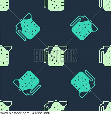 Green And Beige Measuring Cup To Measure Dry And Liquid Food Icon Isolated Seamless Pattern On Blue