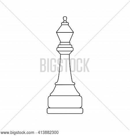 Chess Piece Bishop. Vector Black And White Isolated Outline Linear Illustration Chessman Icon