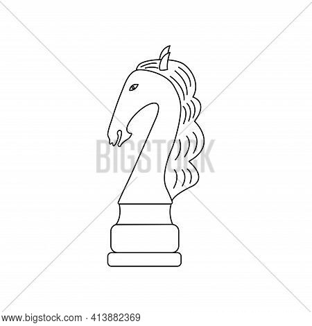 Horse Chess Piece. Vector Black And White Isolated Outline Linear Illustration Chessman Icon