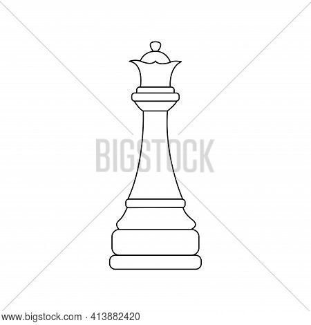 Queen Chess Piece. Vector Black And White Isolated Outline Linear Illustration Chessman Icon
